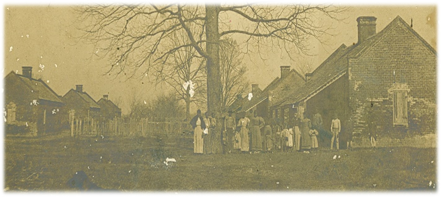 1904 photograph of the residents of the Magnolia Quarters standing around a tress in front of two rows of cabins.